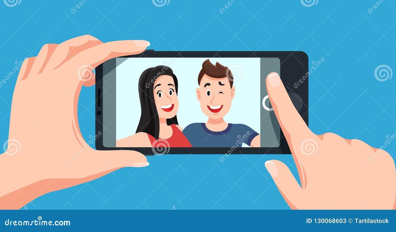 Par Selfie Romantisk självstående, unga vänner som tar illustrationen för vektor för selfiefototecknad film