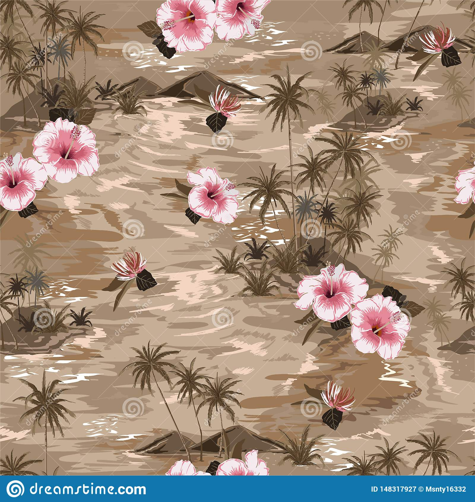 Paraíso beige monótono del verano de la isla del modelo del humor inconsútil del vintage con las flores florecientes del hibisco,