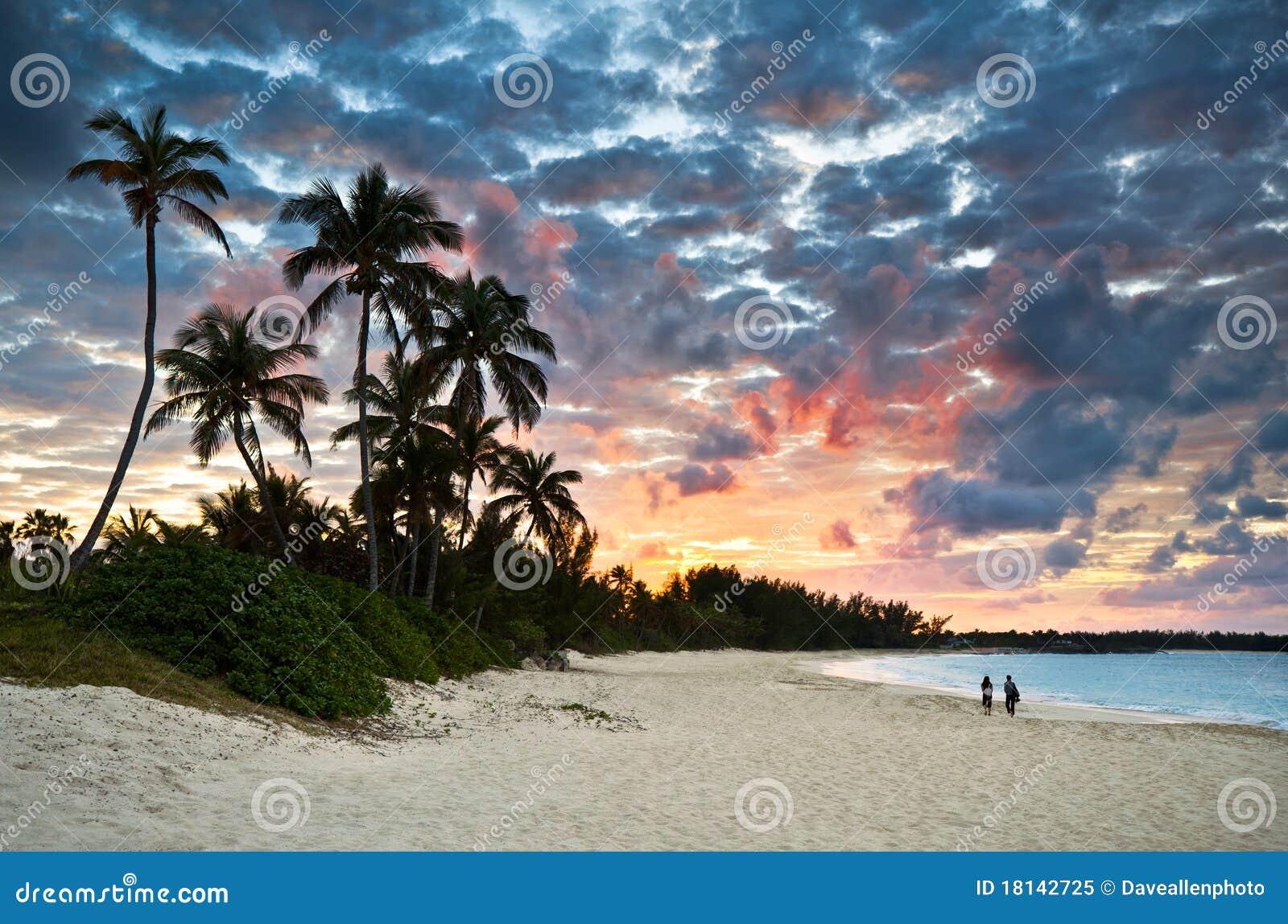 Paraíso del Caribe tropical de la playa de la arena en la puesta del sol