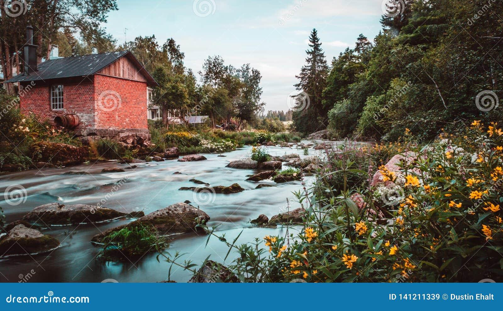 Para baixo pelo rio em Finlandia
