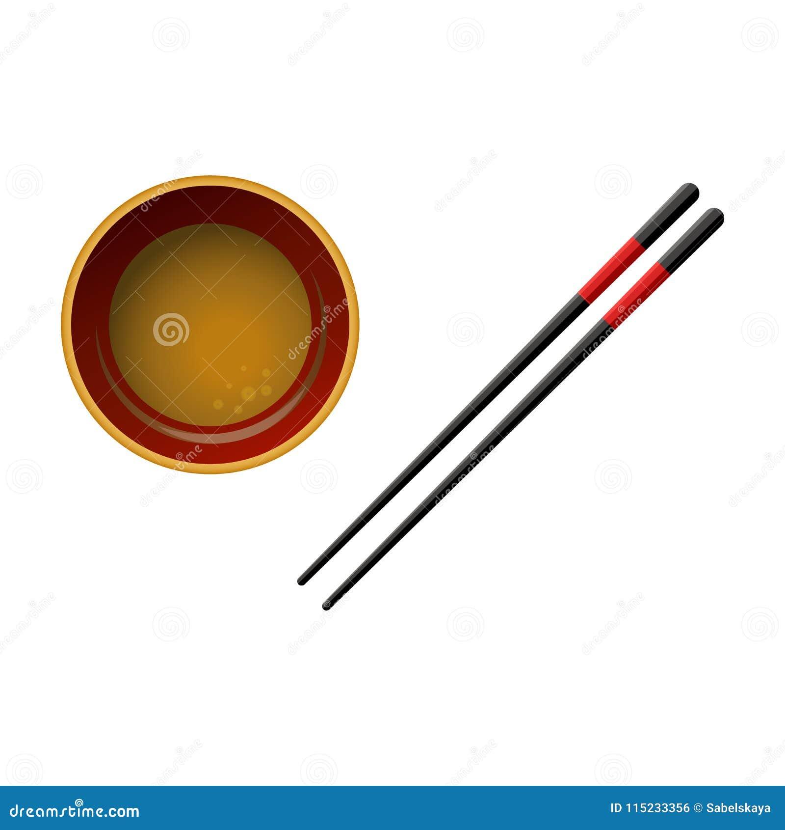 Para czarni drewniani chopsticks z czerwonymi liniami z soja kumberlandem odizolowywającym na białym tle i puchar