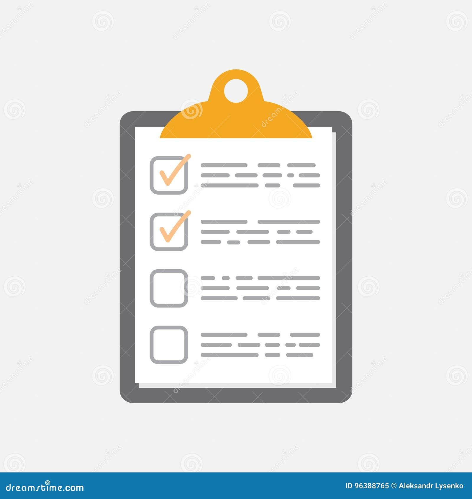 Para hacer el icono de la lista Lista de control, ejemplo del vector de la lista de tarea en fla