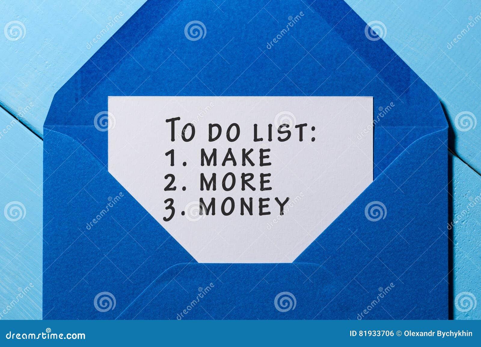 Para Hacer La Lista Con Palabras Haga Más Dinero Fijado En El Sobre