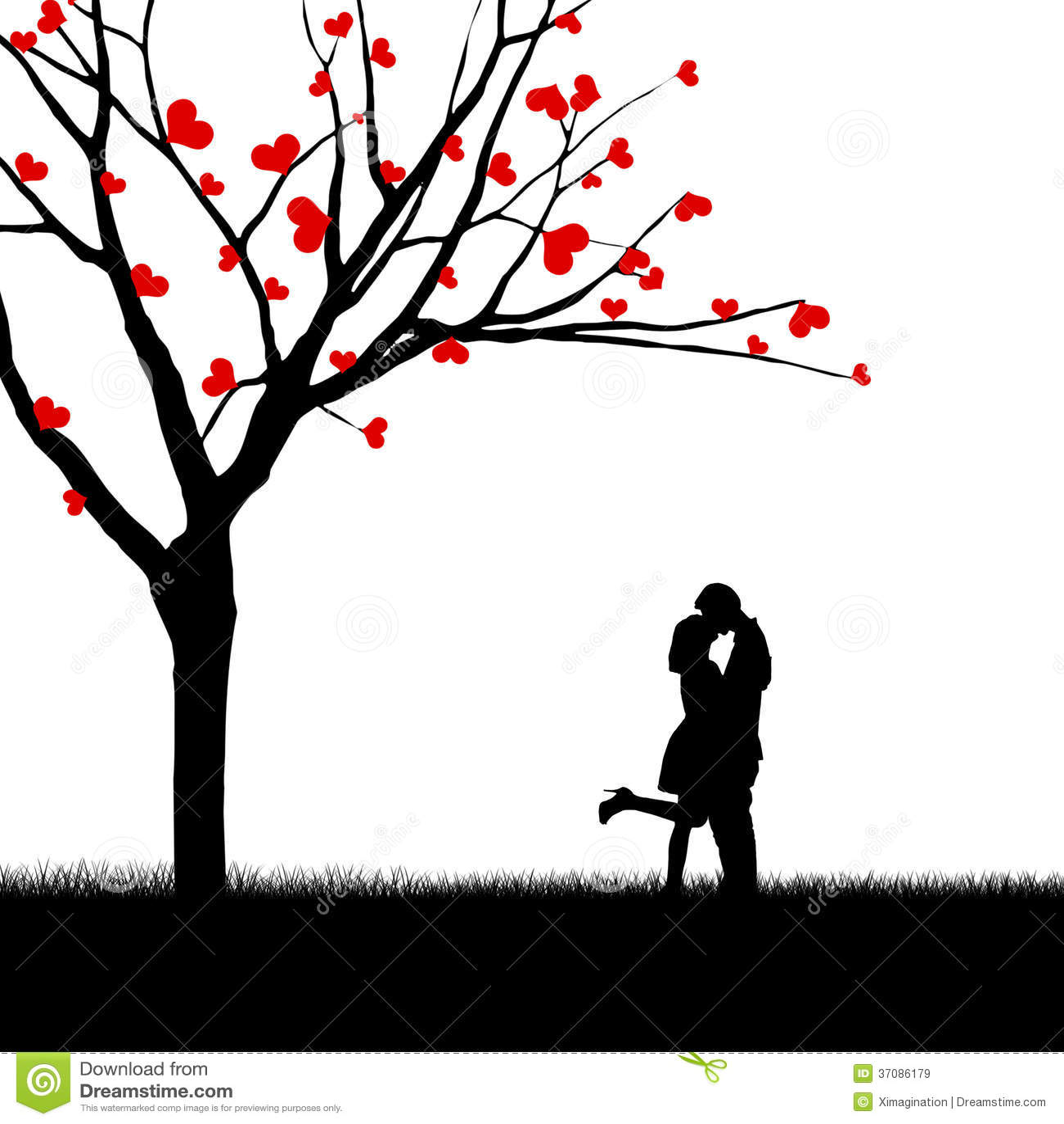 Download Para I Drzewo Miłości Sylwetka Ilustracji - Ilustracja złożonej z mężczyzna, kardamon: 37086179