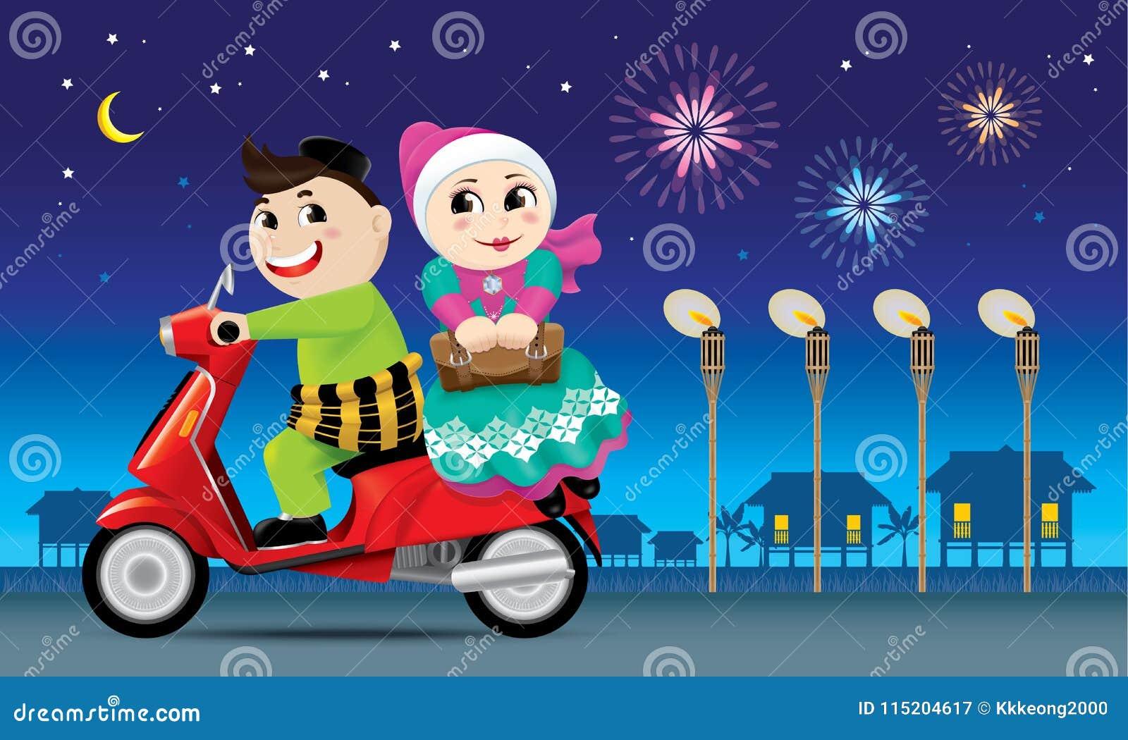 Para jest na sposobie z powrotem ich miasto rodzinne, przygotowywający świętować Raya festiwal z ich rodziną