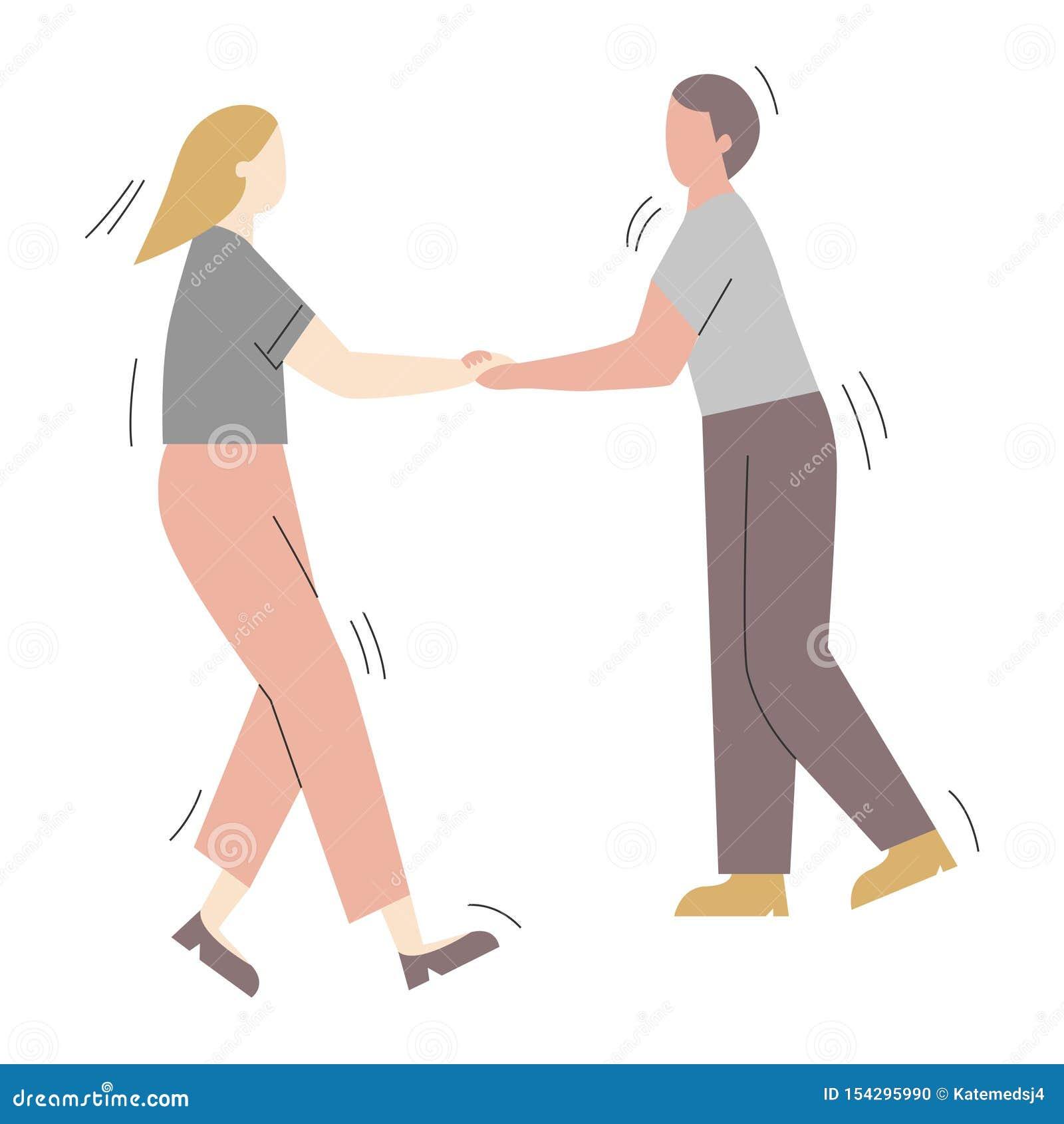 Para postacie z kreskówki ma zabawa tana przy przyjęciem Mężczyzna i kobieta ubieraliśmy w modnym odzieżowym tanu przy klubem lub