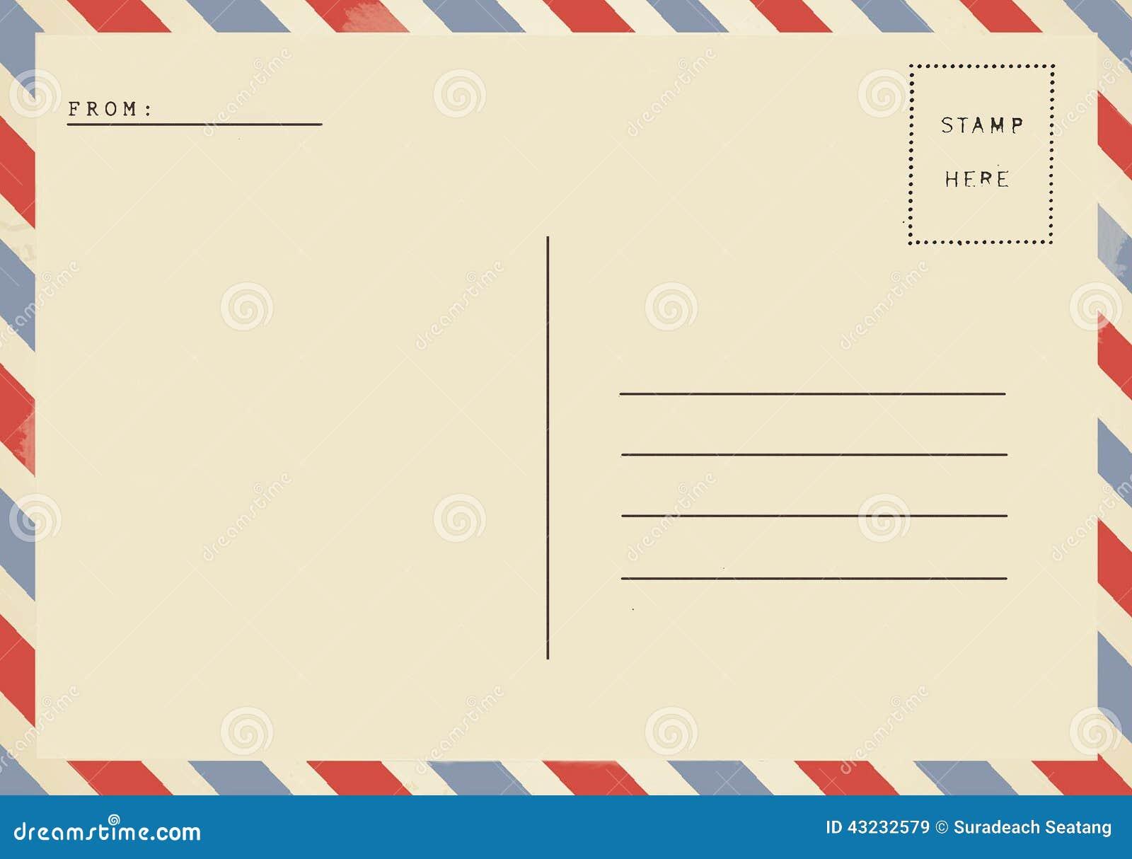 Para trás do cartão da placa do correio aéreo