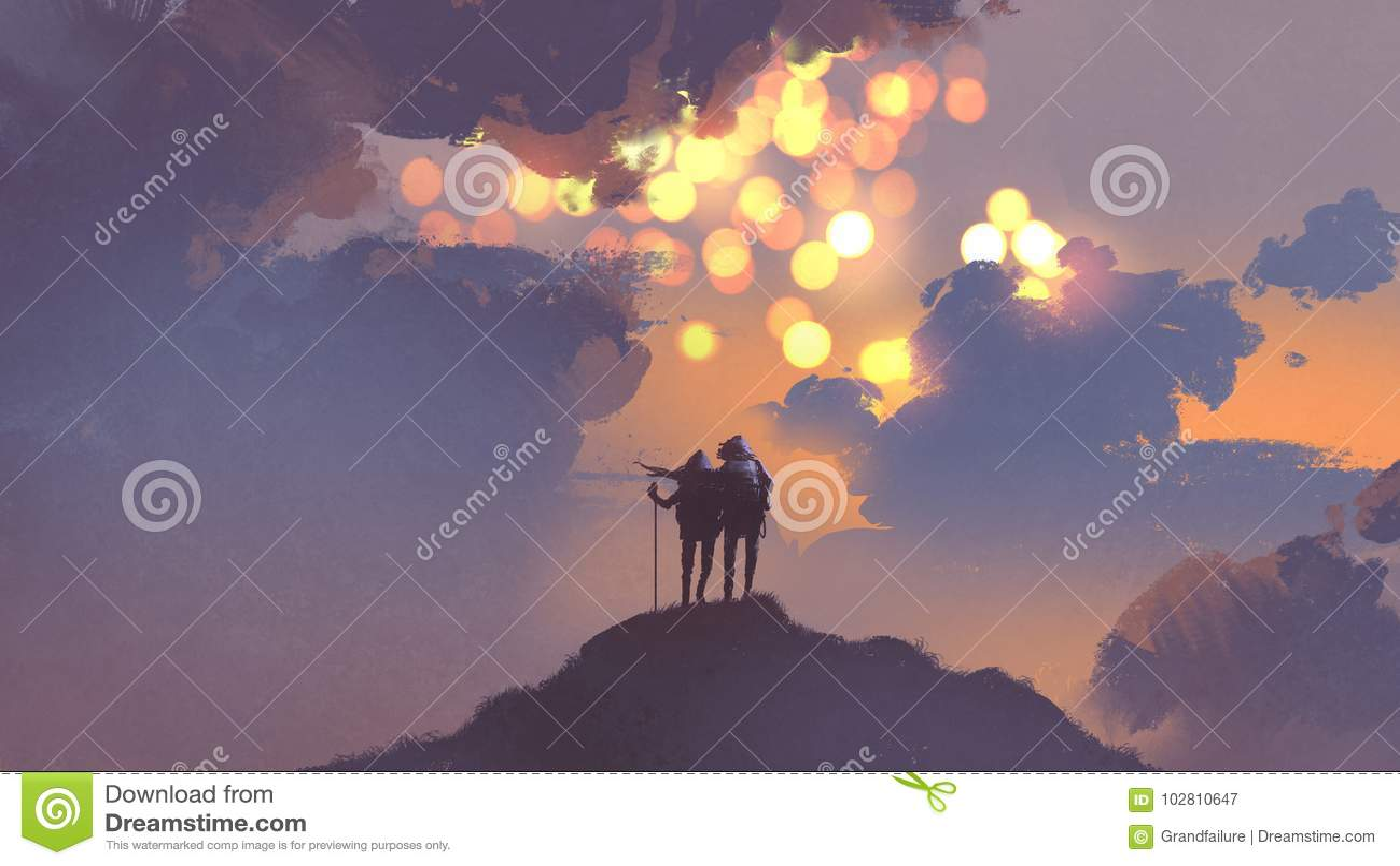 Para wycieczkowicze patrzeje wiele słońca w niebie
