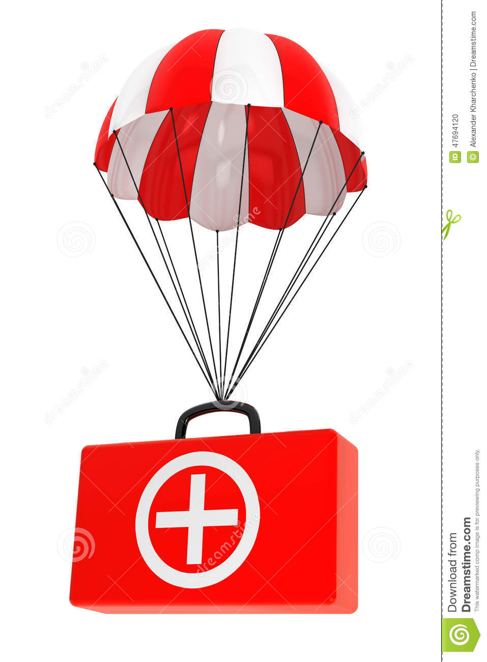 Parachute With First Aid Case On A White Stock