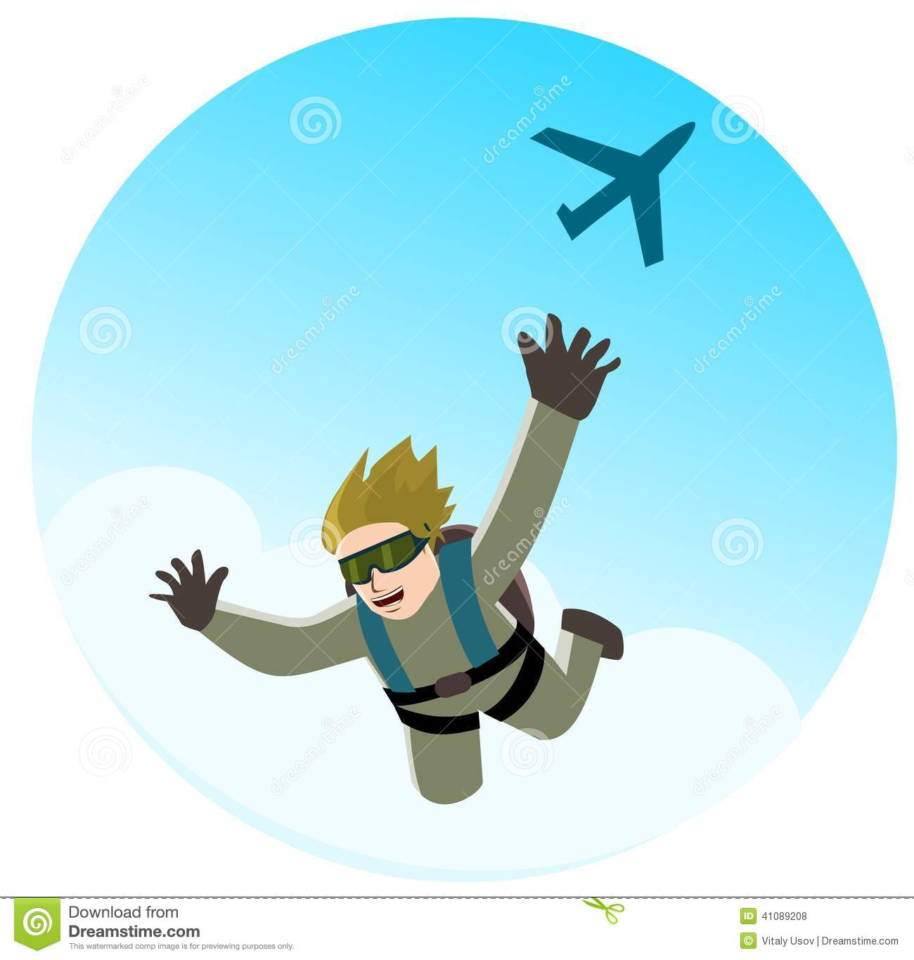 Parachute jumping stock vector. Illustration of extreme ...