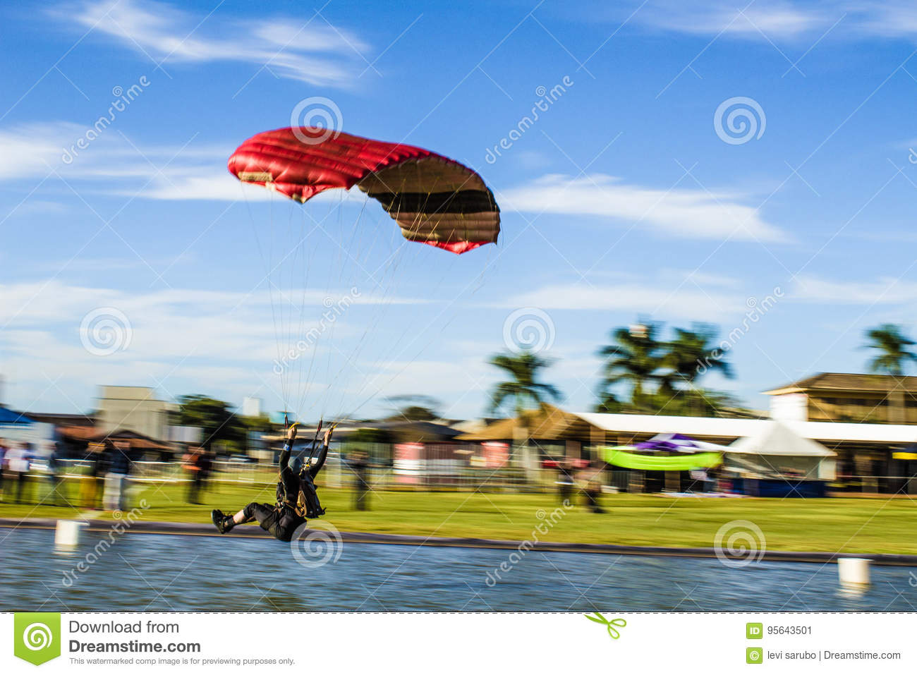 Parachute landing in the water.
