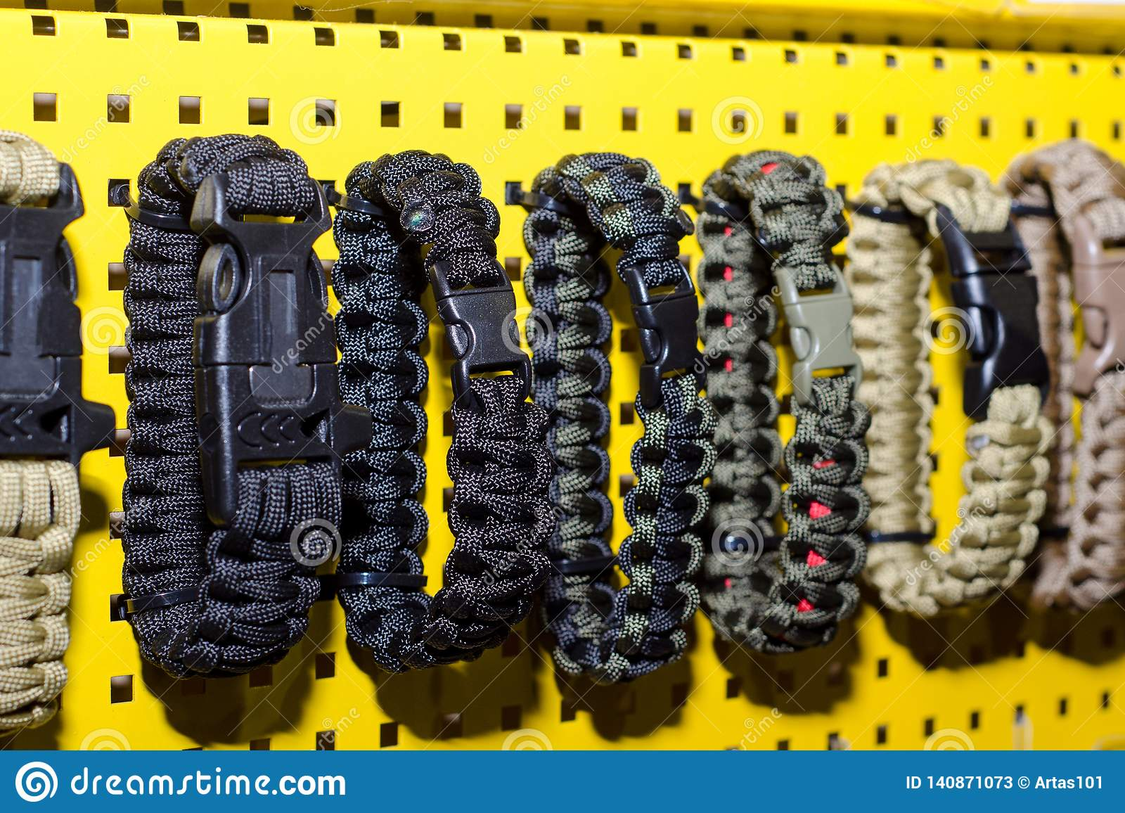 Paracord Bracelet for sale stock image  Image of isolated