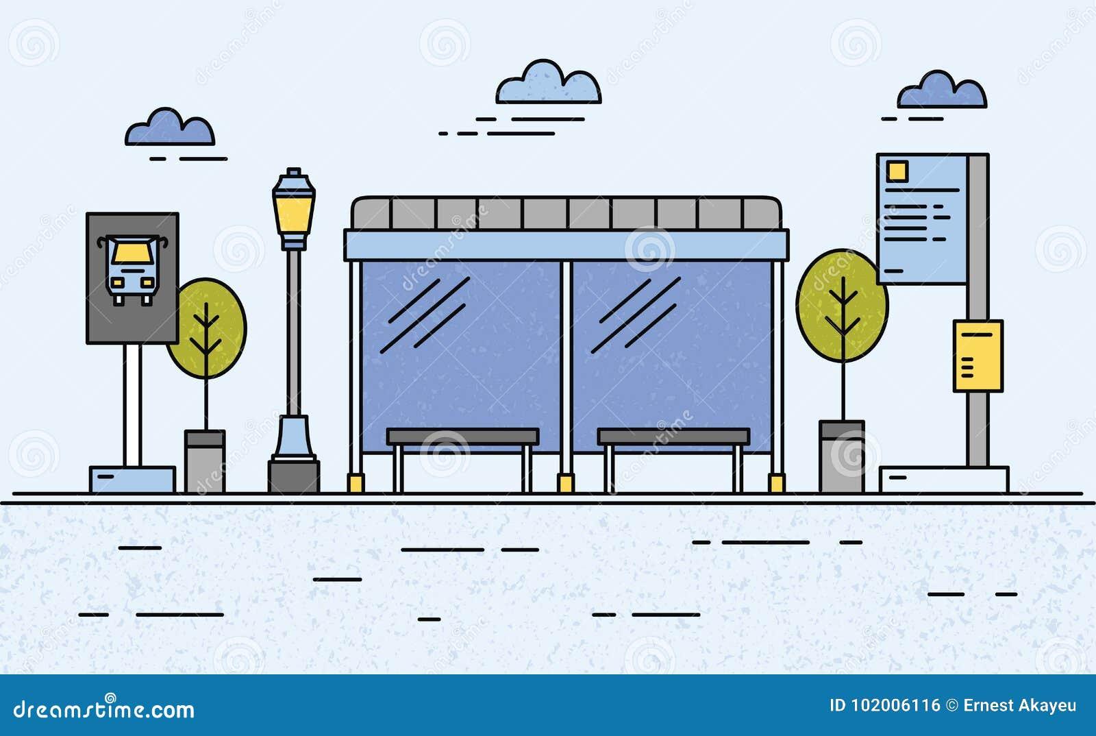Parada de autobús, luz de calle, calendario del transporte público e información para los pasajeros