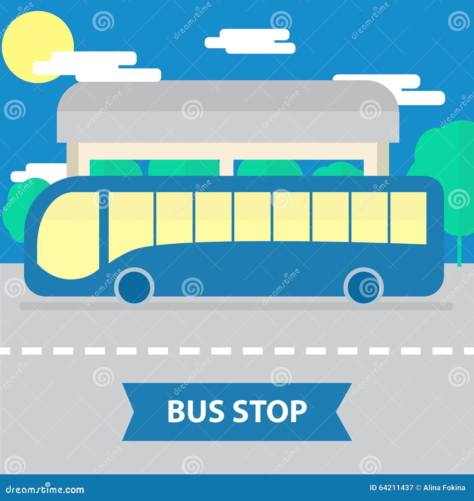 Parada de autobús plana