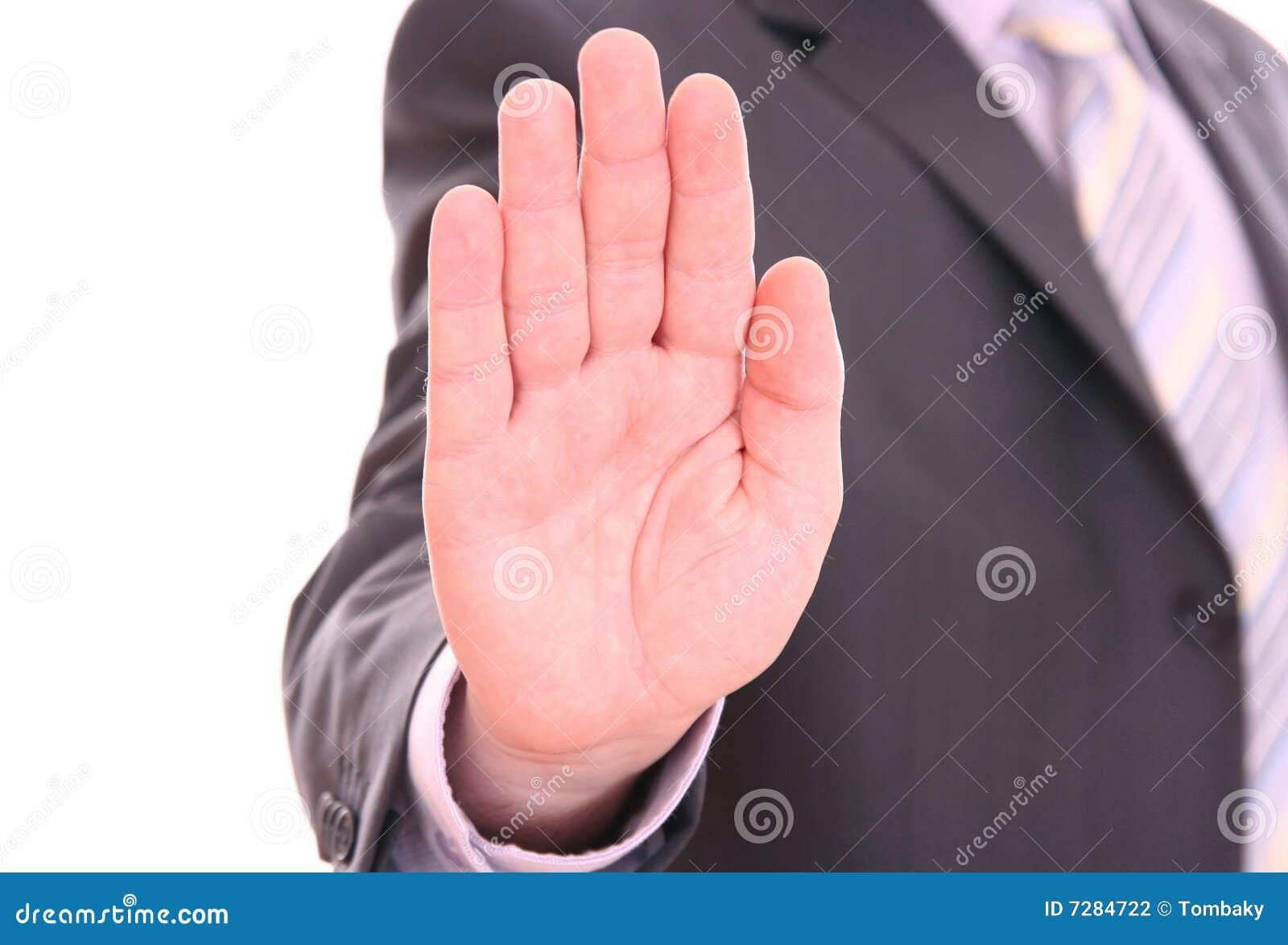 Parada de la señalización de la mano