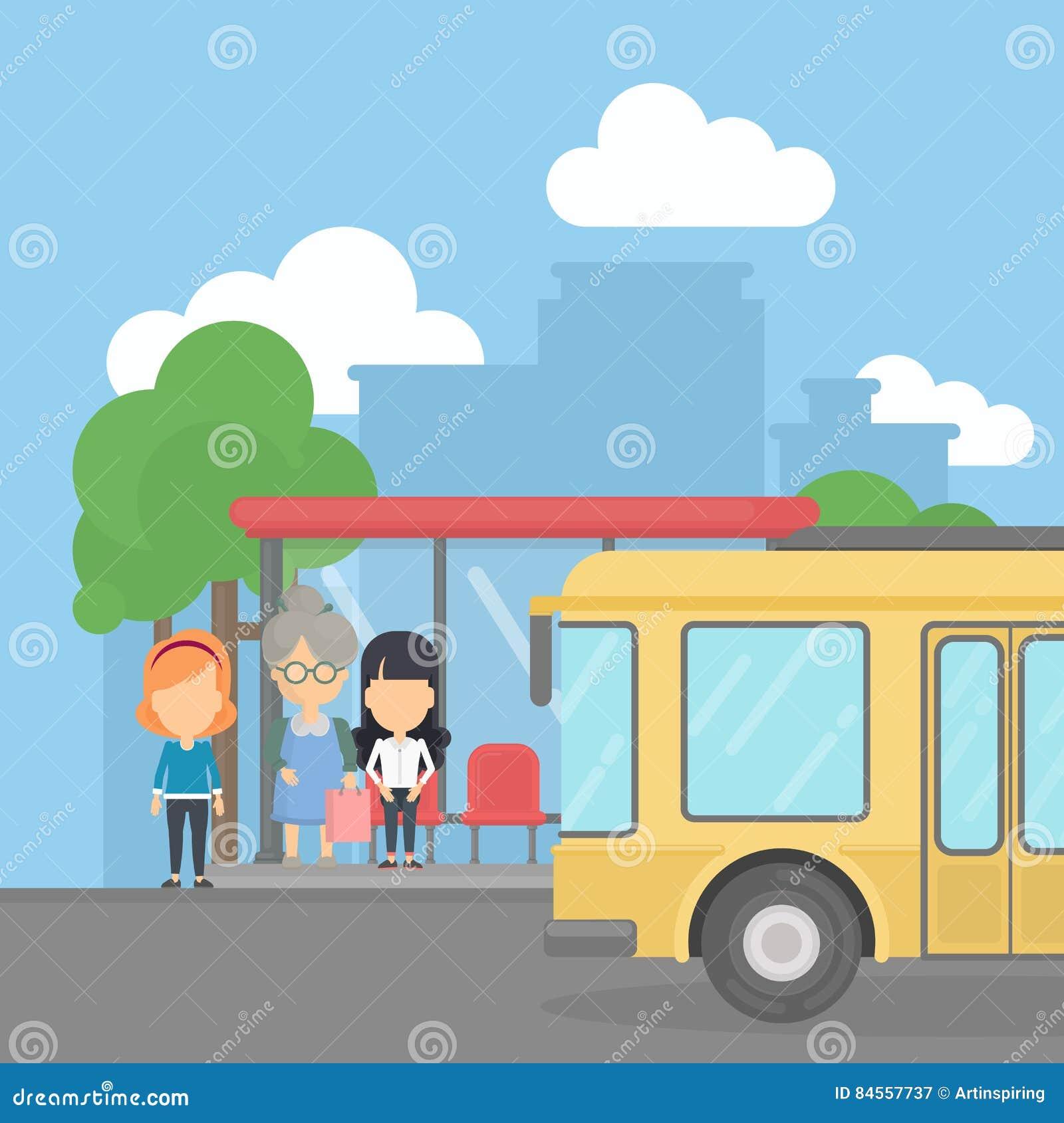 Parada do ônibus com passageiros