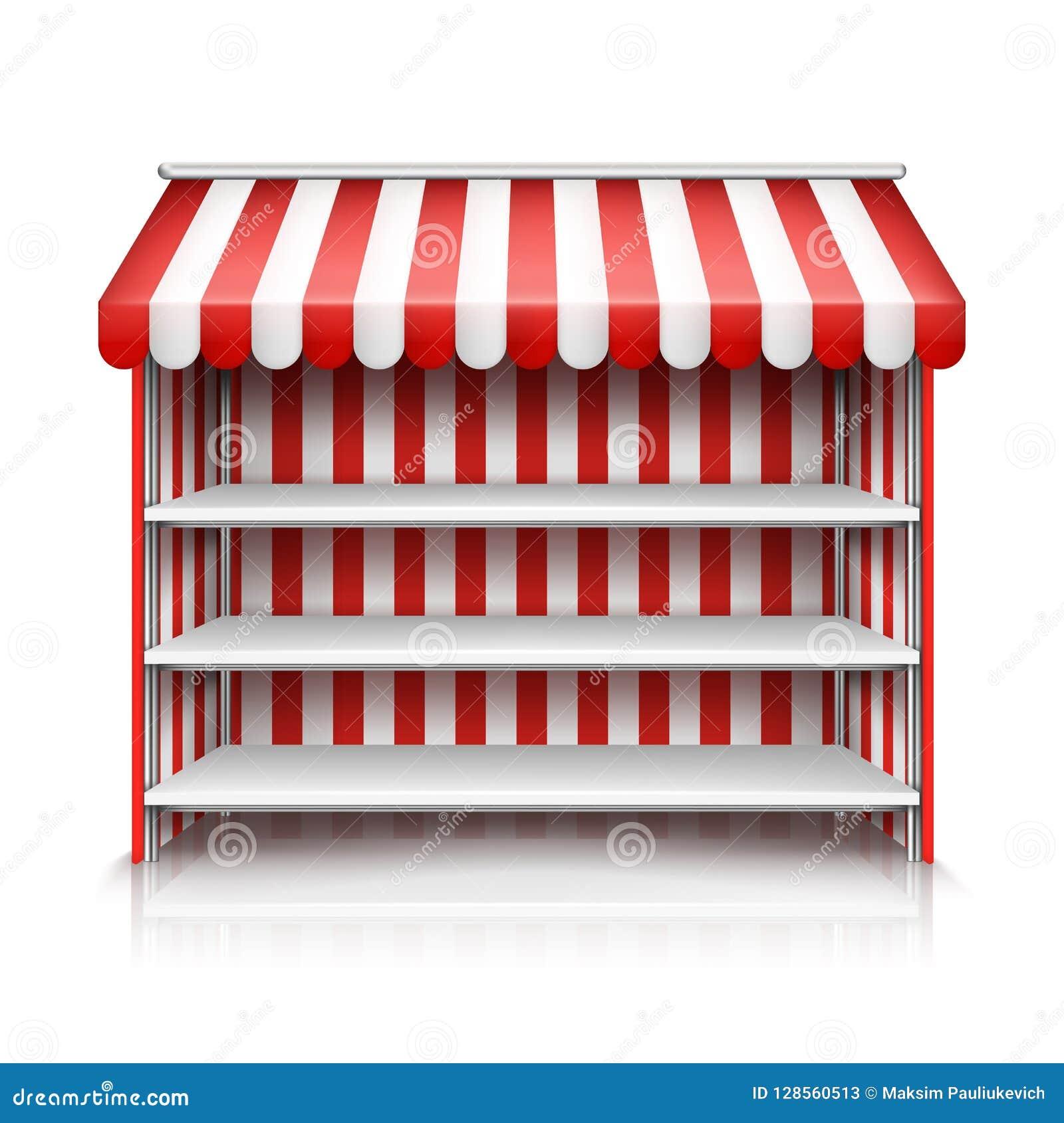 Parada vacía del mercado del vector con los estantes y el toldo