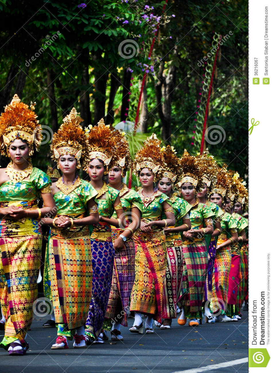 parade of balinese girl with traditional dress editorial