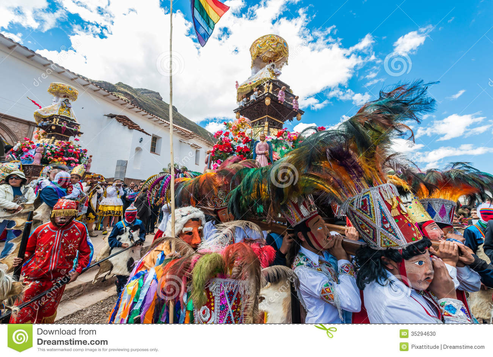 Parade peruanische Anden Pisac Peru Virgen Del Carmen