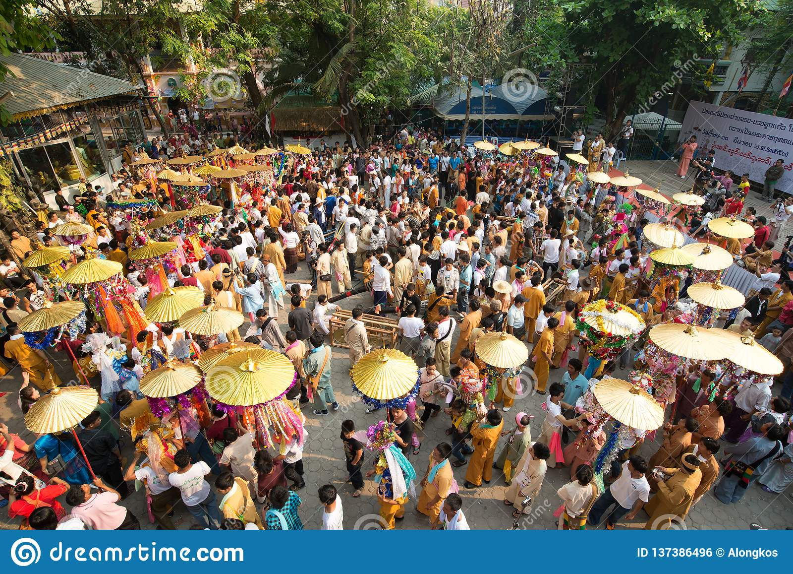 Poy Sang Long festival, A Ceremony of boys to become novice monk, In parade around temple in Chiang mai, Thailand