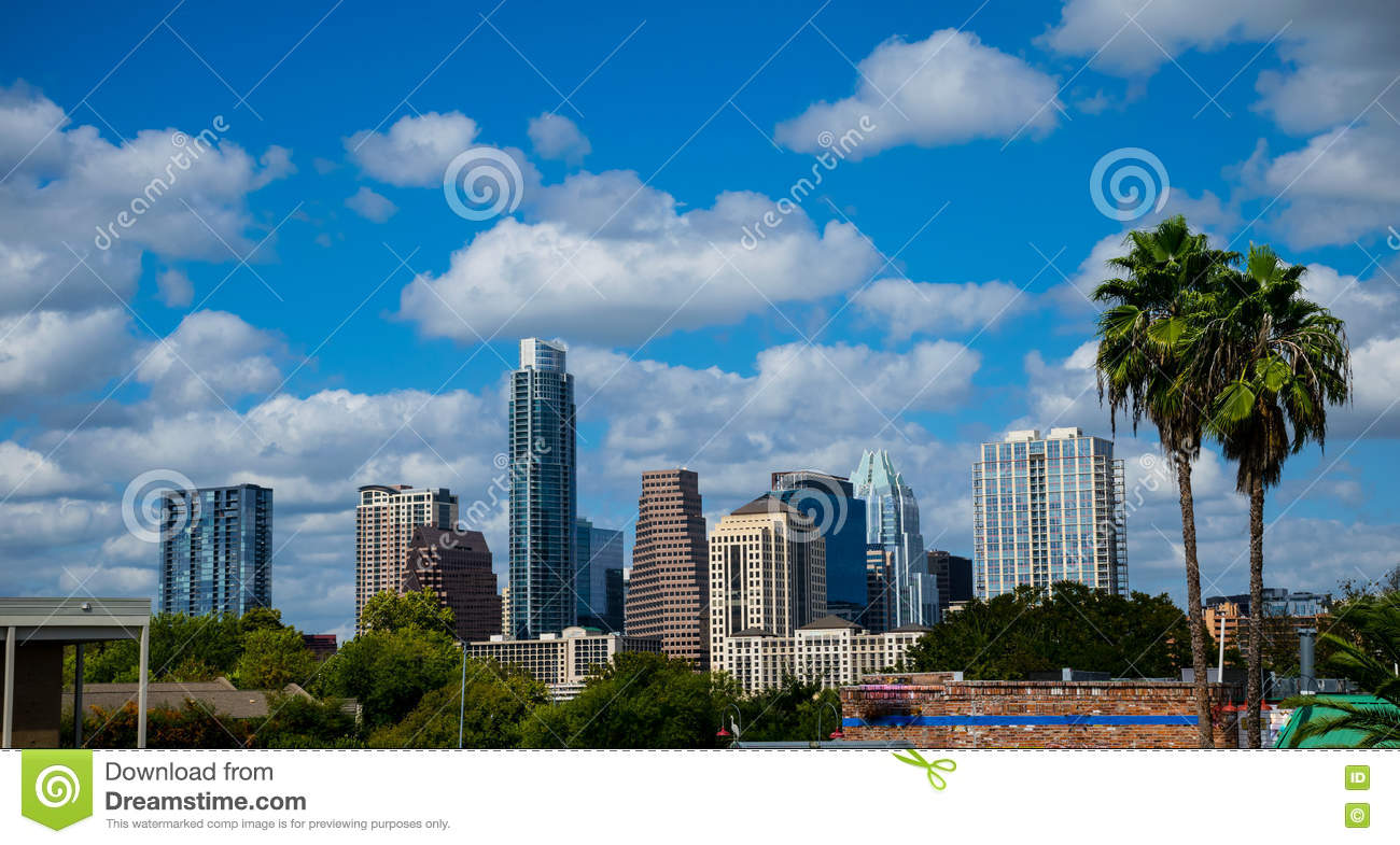 Paradise Austin Texas Skyline Sunny Day Blue Sky With Two