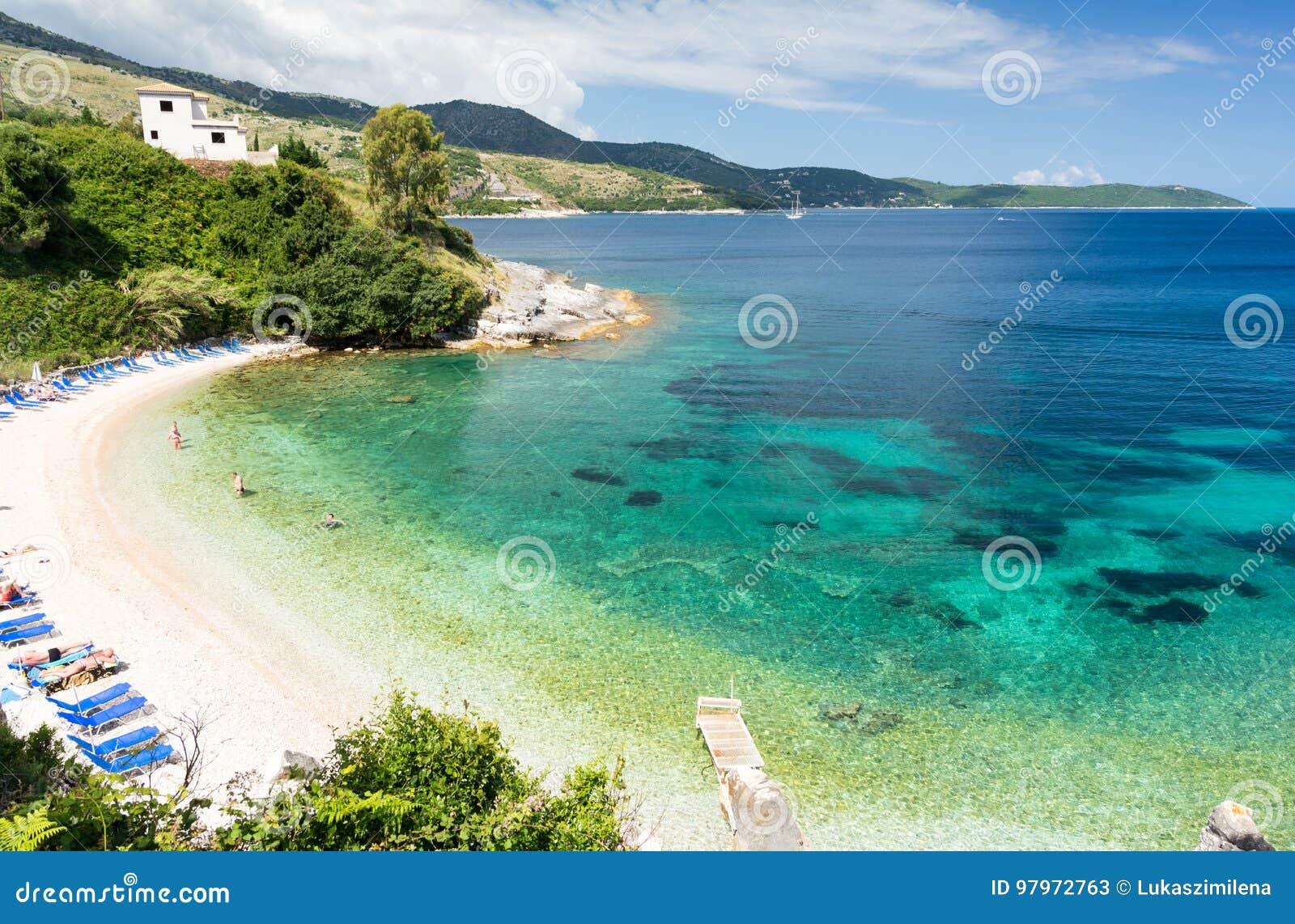 Paradise Beach In Kassiopi In Corfu Island, Greece Stock Photo 97972763 -  Megapixl