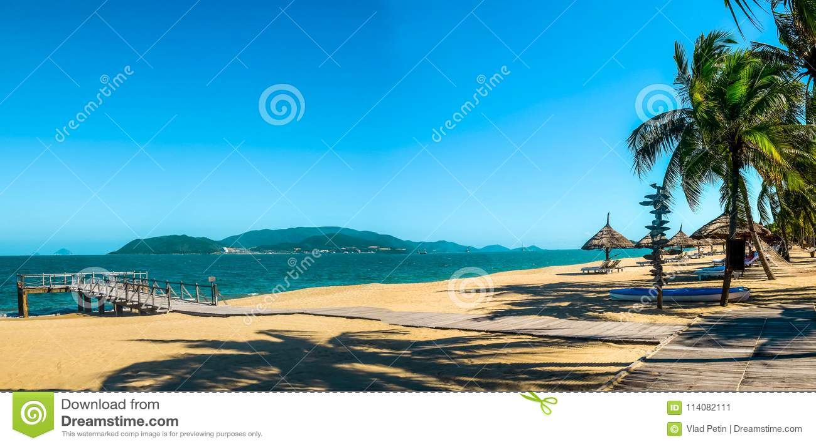 Paradise Beach On Tropical Island Stock Image