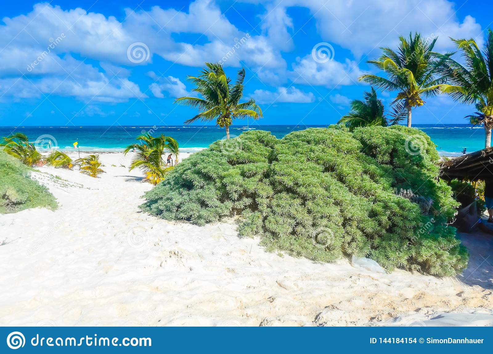 Paradise beach of Tulum, Quintana Roo, Mexico. Mayan ruins of Tulum at tropical coast
