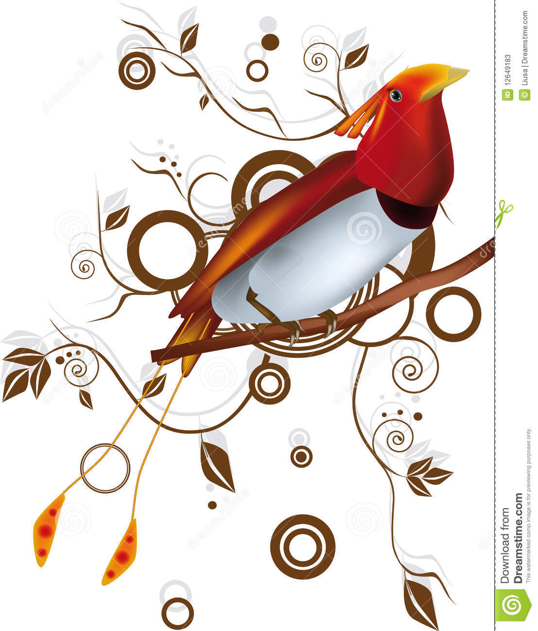 Paradise bird and ornamen flower foliage.