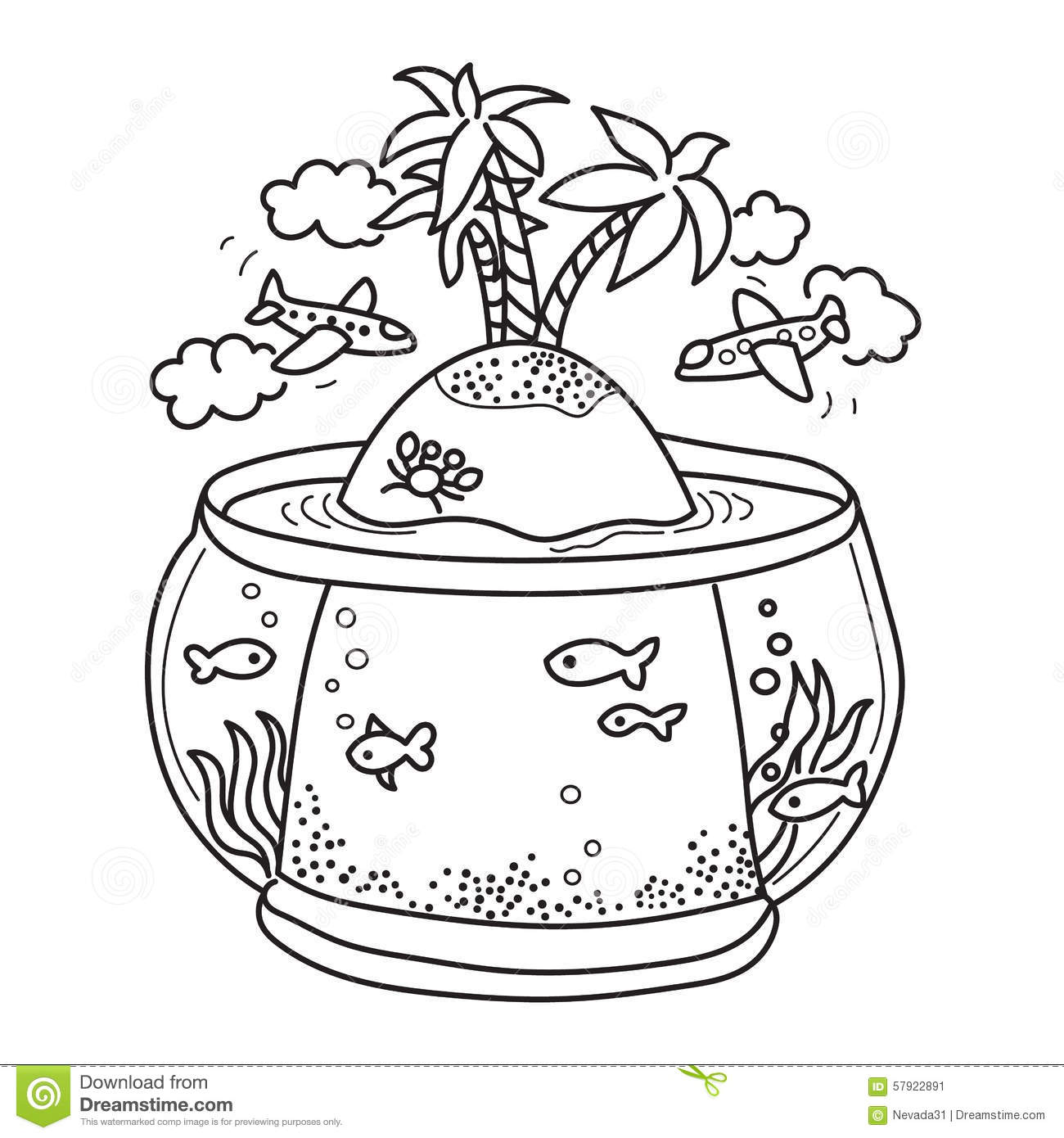Fish tank drawing pictures - Paradise Island In Fish Tank
