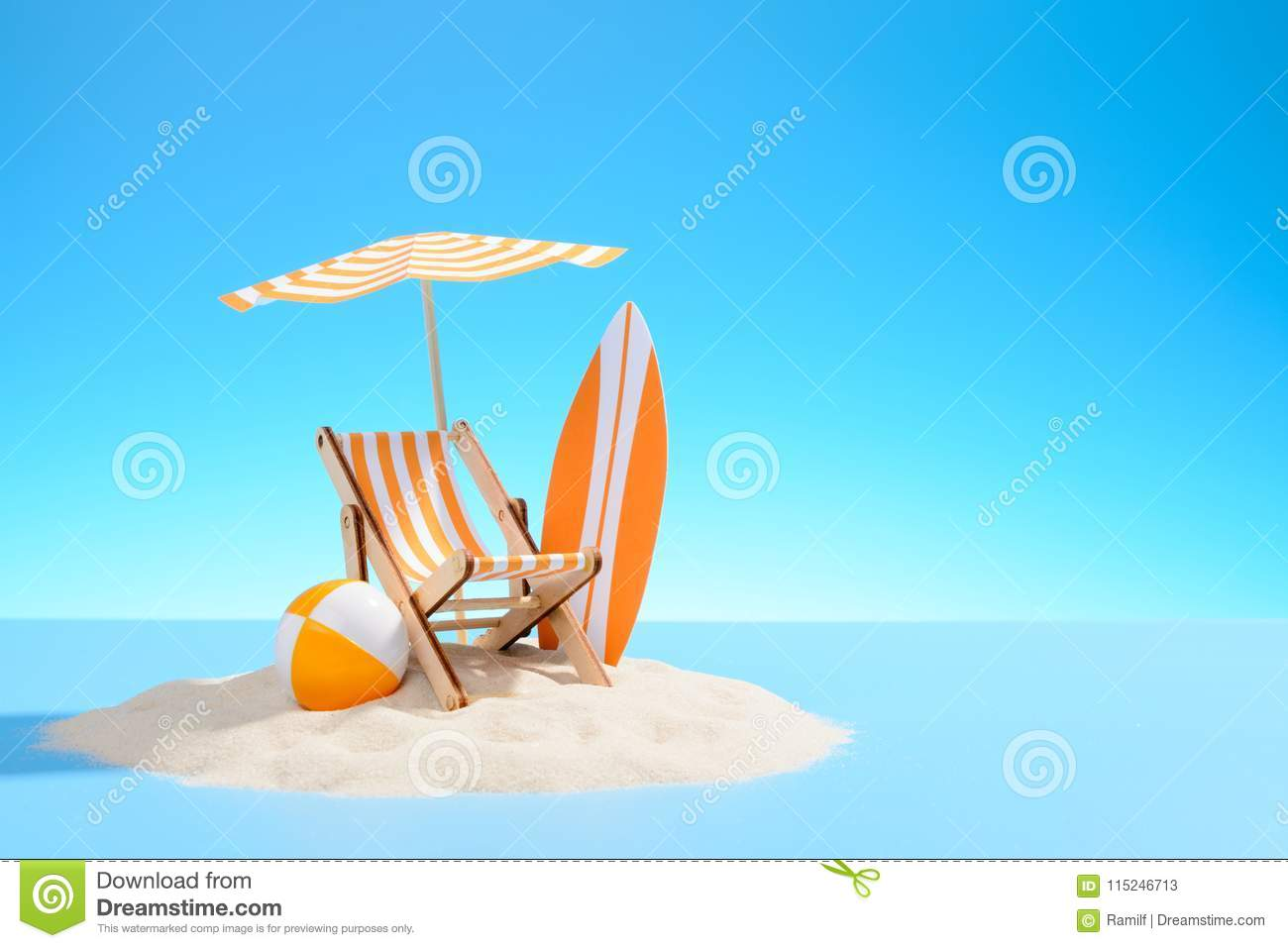 Paradise Island In The Ocean Miniature Beach Accessories For Outdoor Activities Blue Background With Copy Space Stock Image Image Of Background Resort 115246713