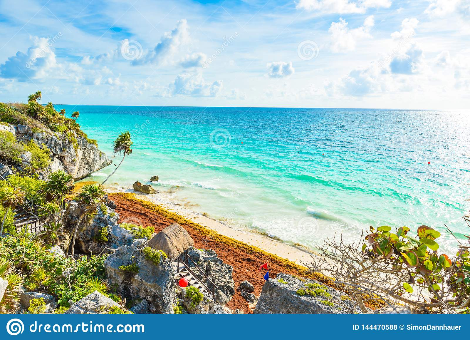 Paradise Scenery of Tulum at tropical coast and beach. Mayan ruins of Tulum, Quintana Roo, Mexico
