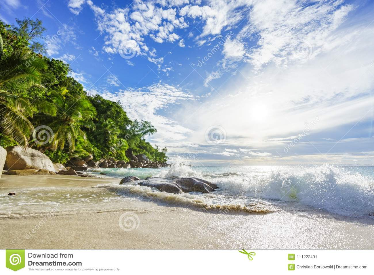 Paradise tropical beach with rocks,palm trees and turquoise water in sunshine, seychelles 23