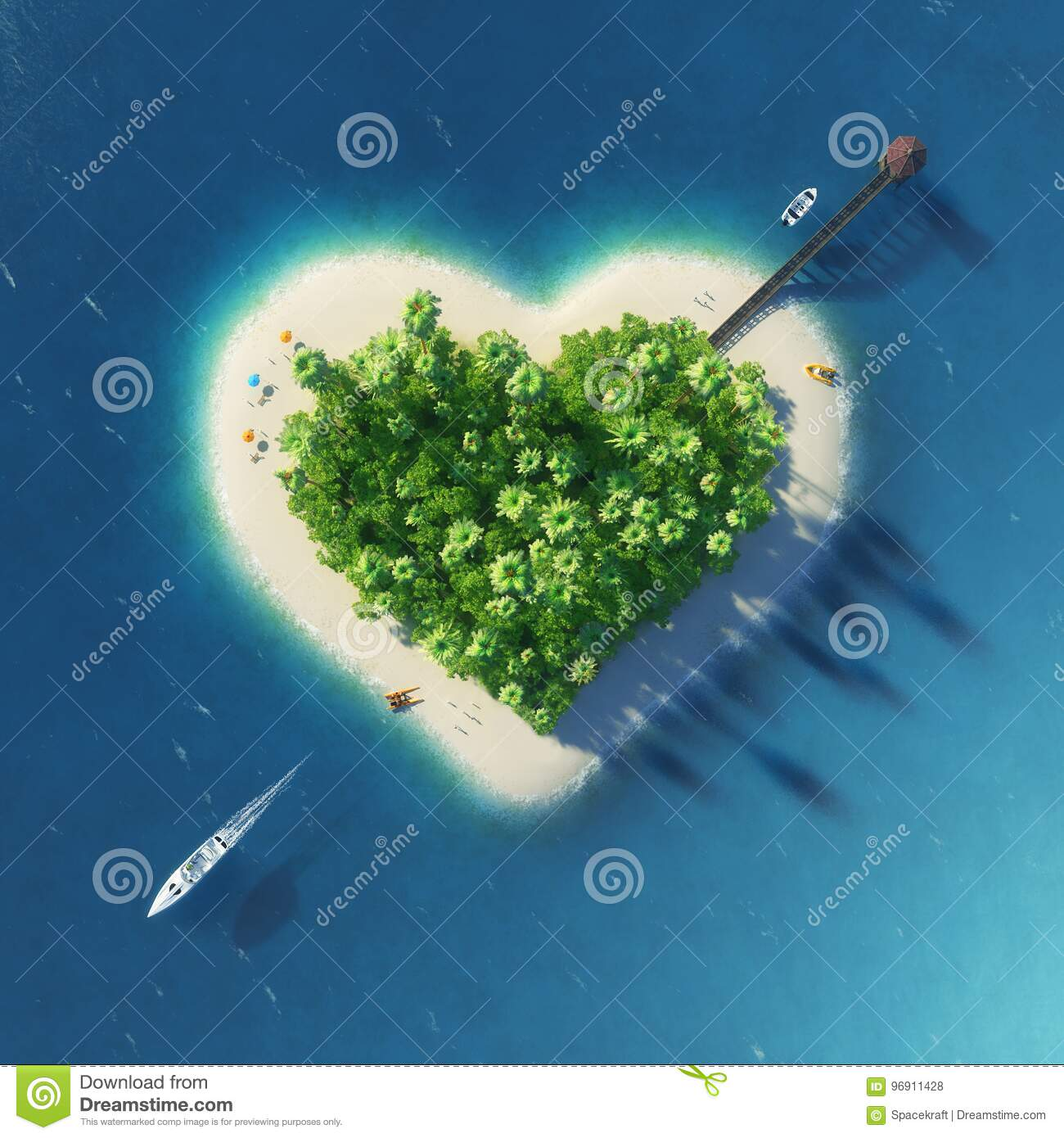 Paradise tropical island in the form of pierced heart. Holidays, travel, relax, eco, nature concept