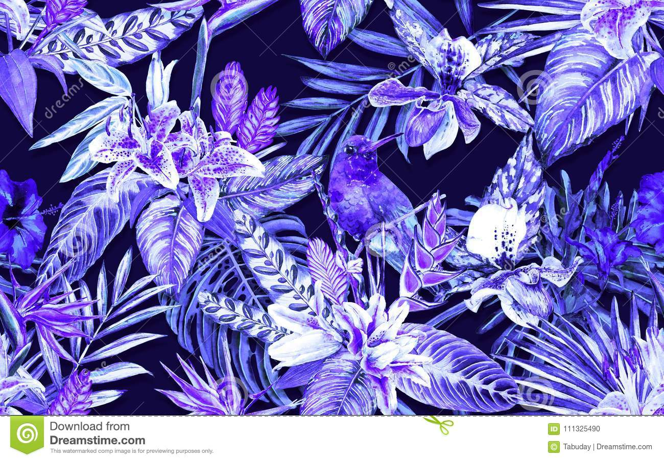 paradise tropical seamless pattern stock illustration illustration
