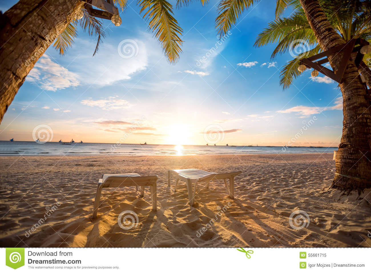 Romantic Pictures Of Tropical Beaches: Paradise For Two Stock Photo