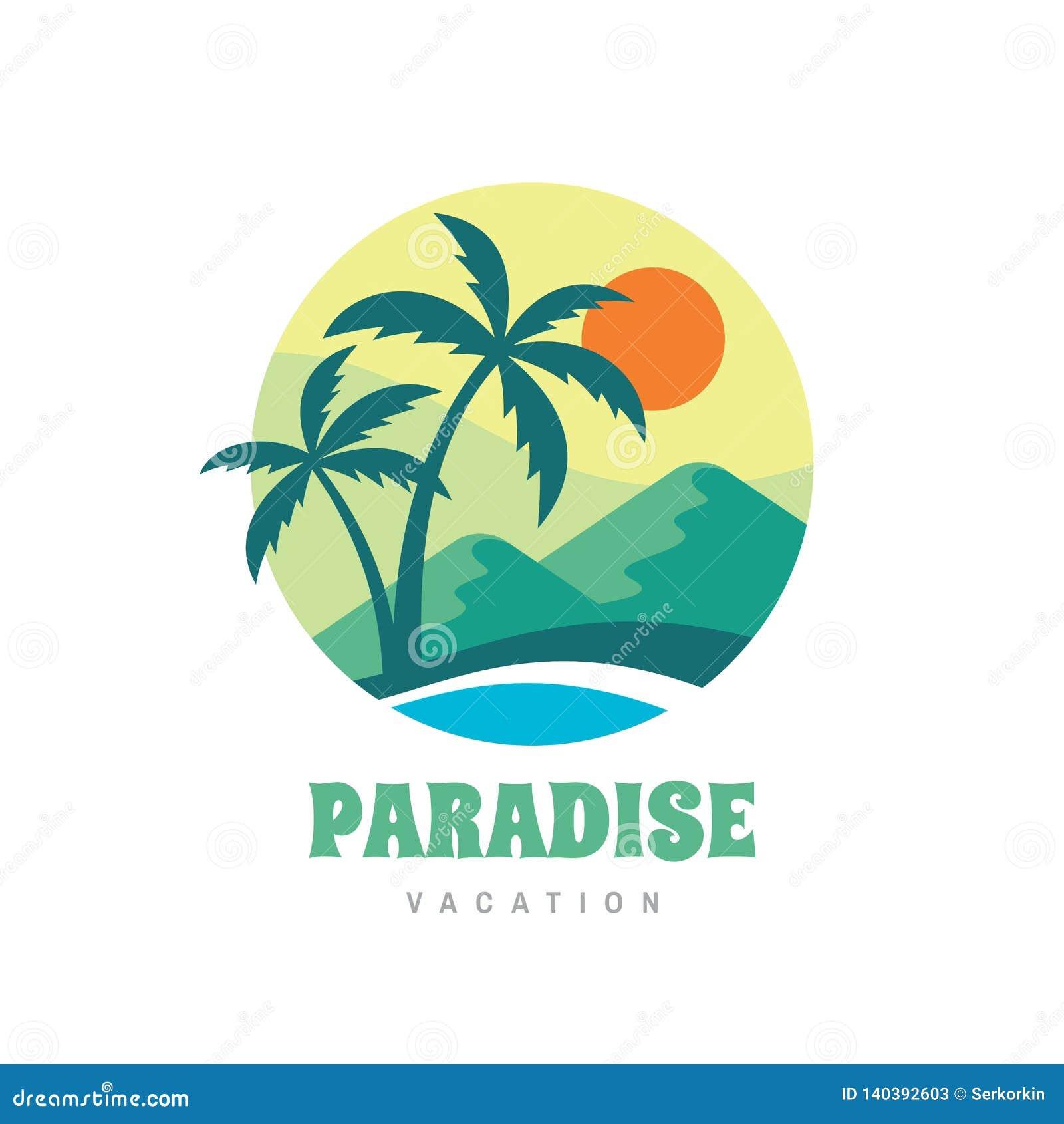 482af9da4 Tropical summer holiday creative logo. Palms, island, beach, sea wave.  Travel webbanner or poster. Graphic t-shirt design.