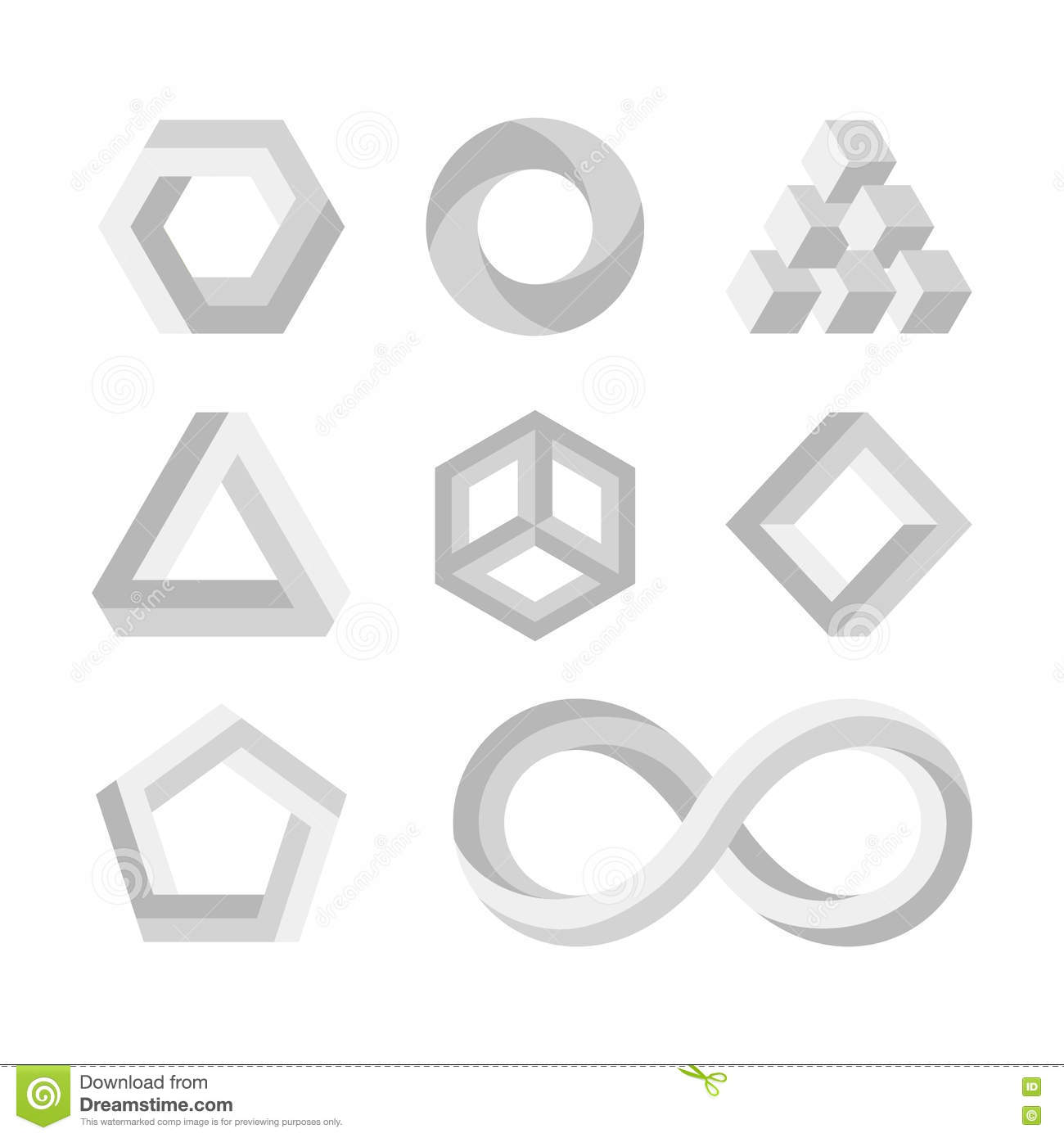 Paradox impossible shapes 3d twisted objects vector math symbols paradox impossible shapes 3d twisted objects vector math symbols buycottarizona Choice Image
