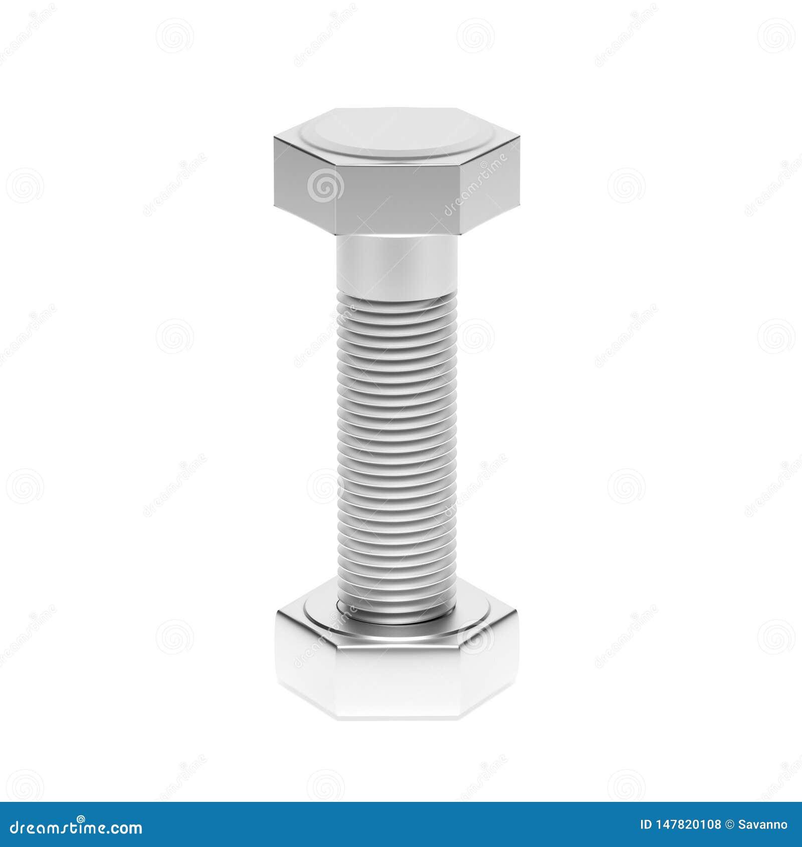Parafuso do metal com porca ilustra??o da rendi??o 3d isolada