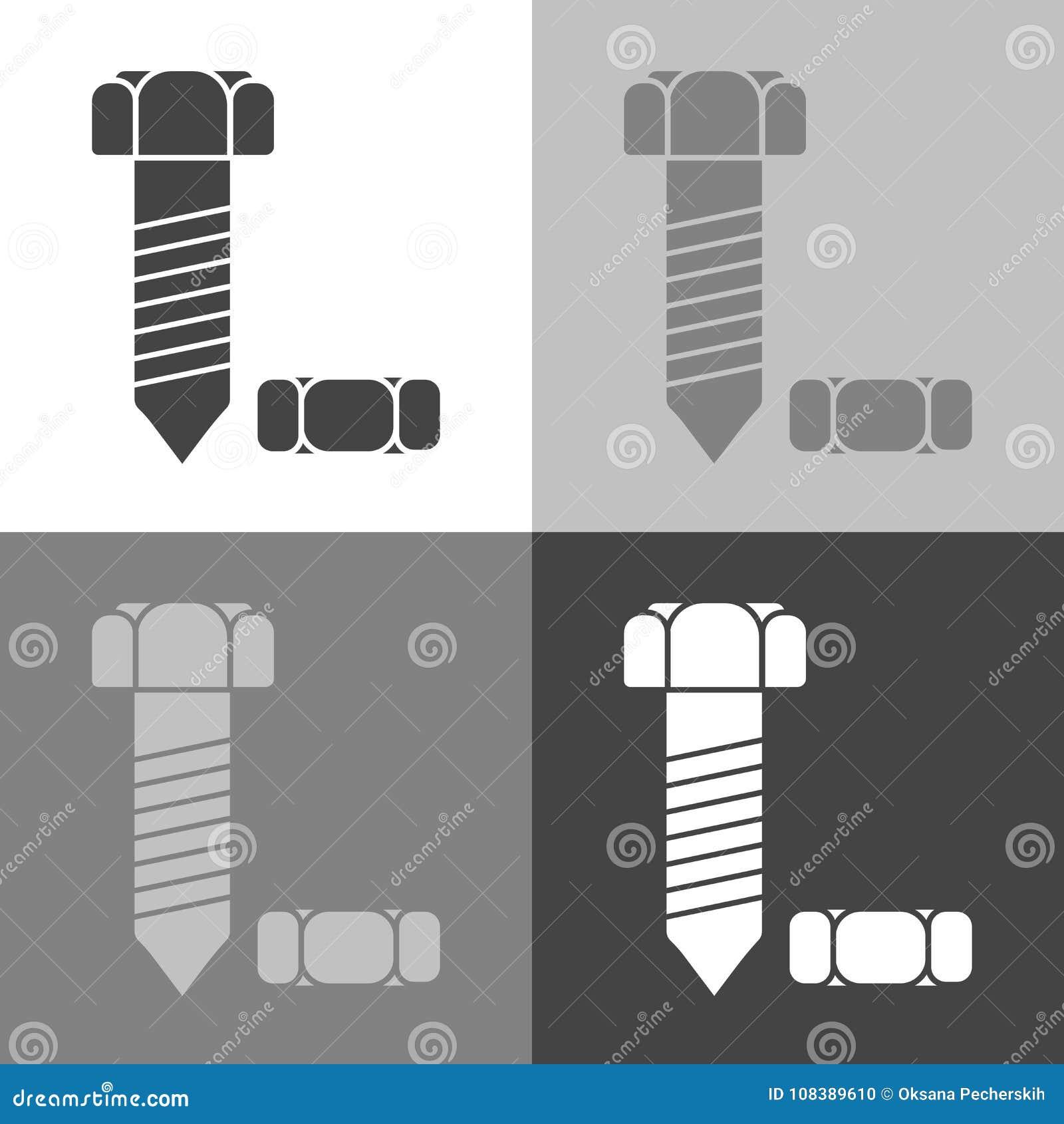 Parafuso e porca da imagem do vetor Ícone do vetor ajustado em c branco-cinzento-preto