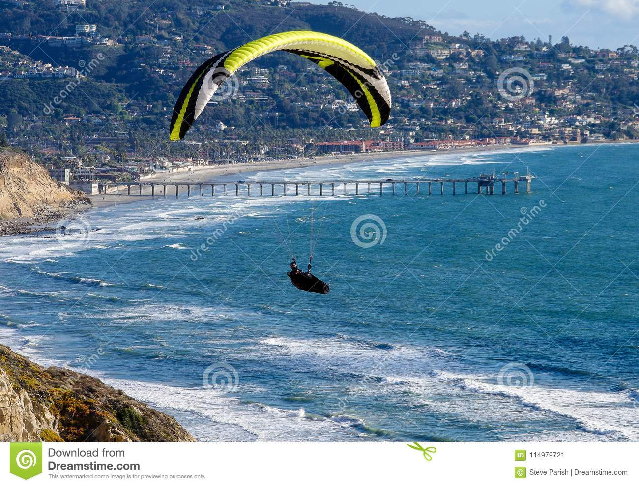 Paraglider Above Pacific Ocean With Scripps Institution Of