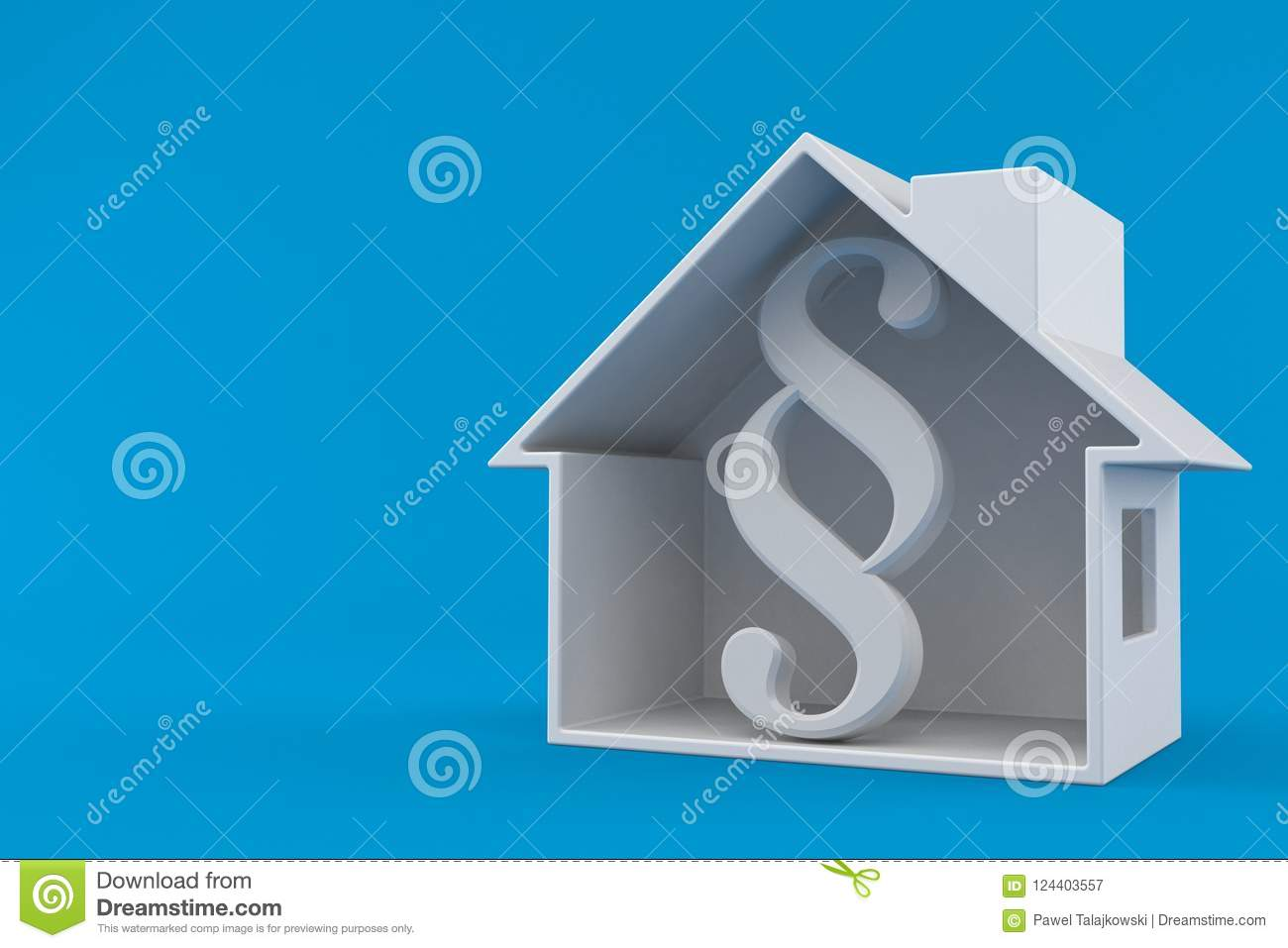 Paragraph Symbol Inside House Cross Section Stock Illustration