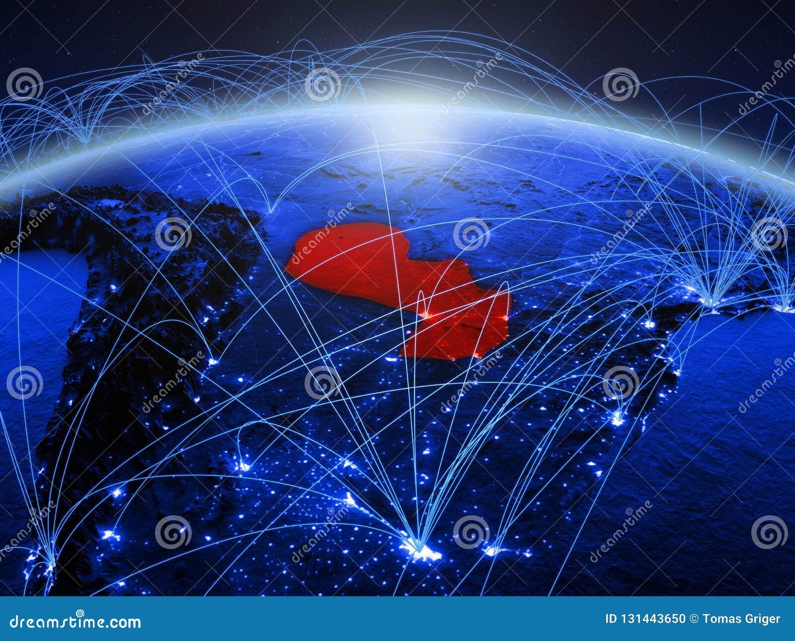Paraguai na terra digital azul do planeta com a rede internacional que representa uma comunicação, o curso e as conexões 3d