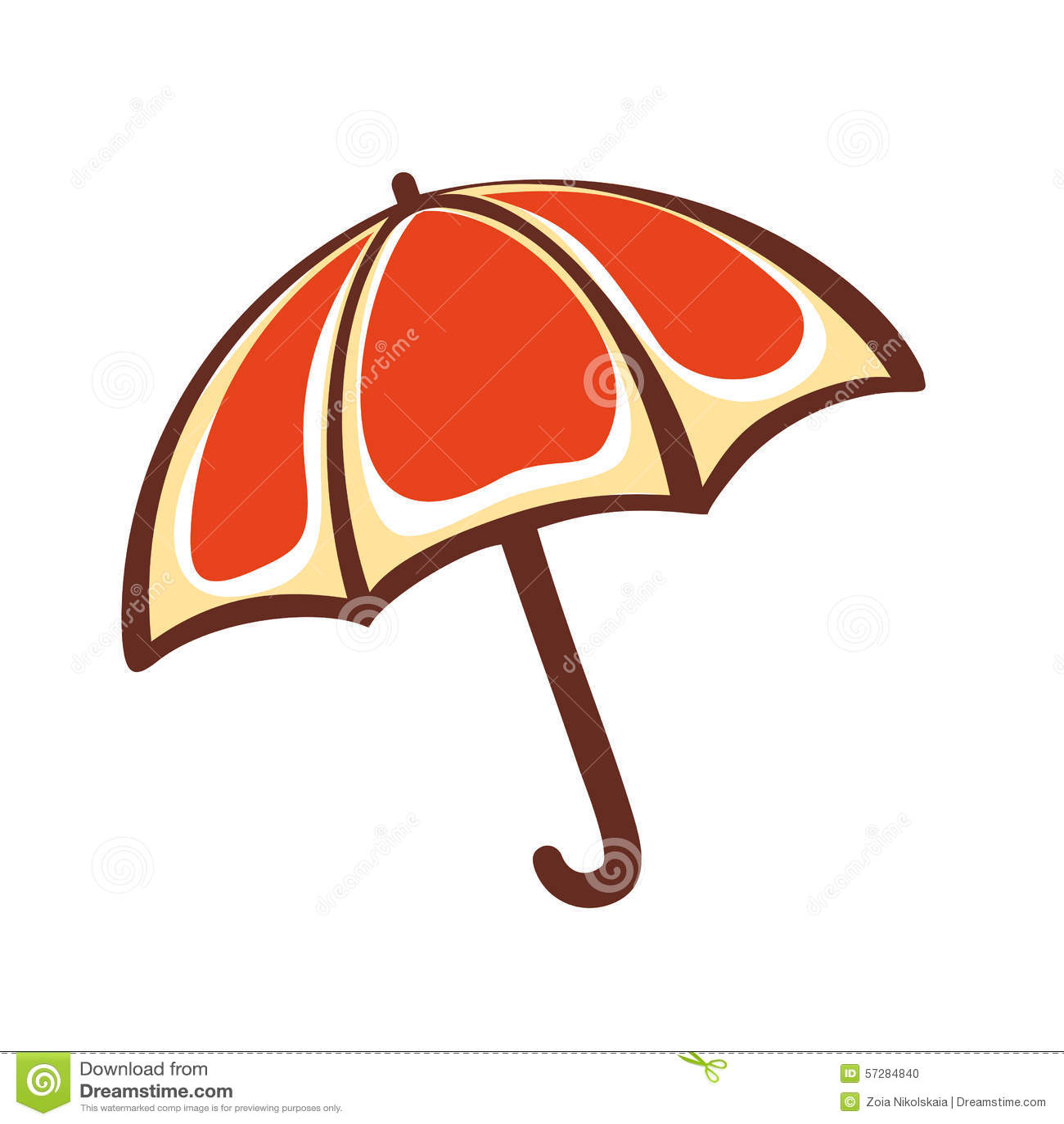 Paraguas anaranjado emblema pictogram icono