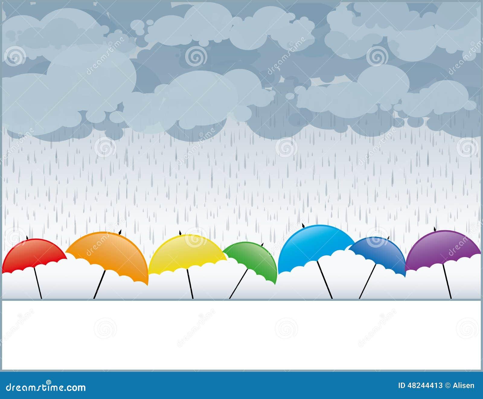 Paraguas coloreados en la lluvia