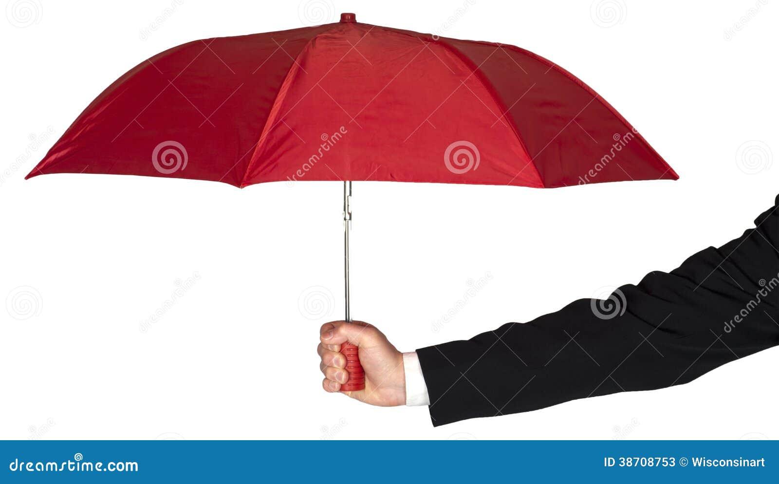 Paraguas de Arm Holding Red del hombre de negocios aislado