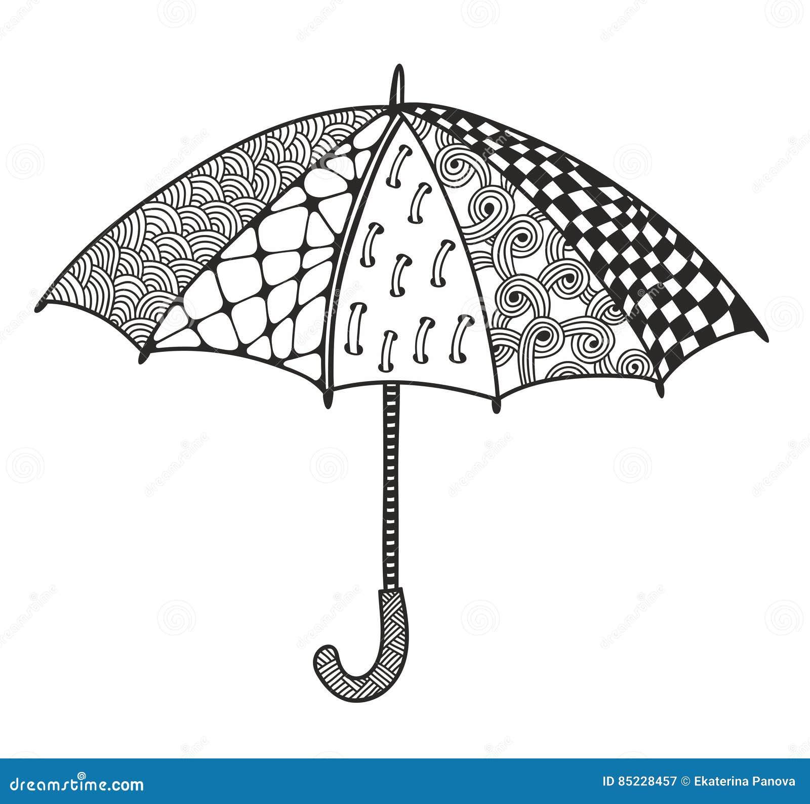 Paraguas Del Garabato Para Colorear Ilustración del Vector ...
