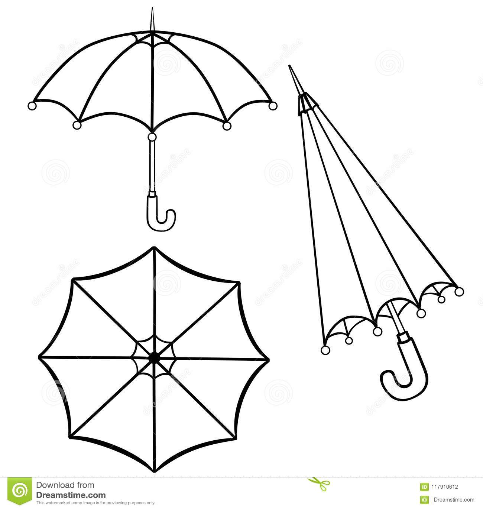 Paraguas Dibujo Lineal Rebecca 36 Ilustración del Vector ...