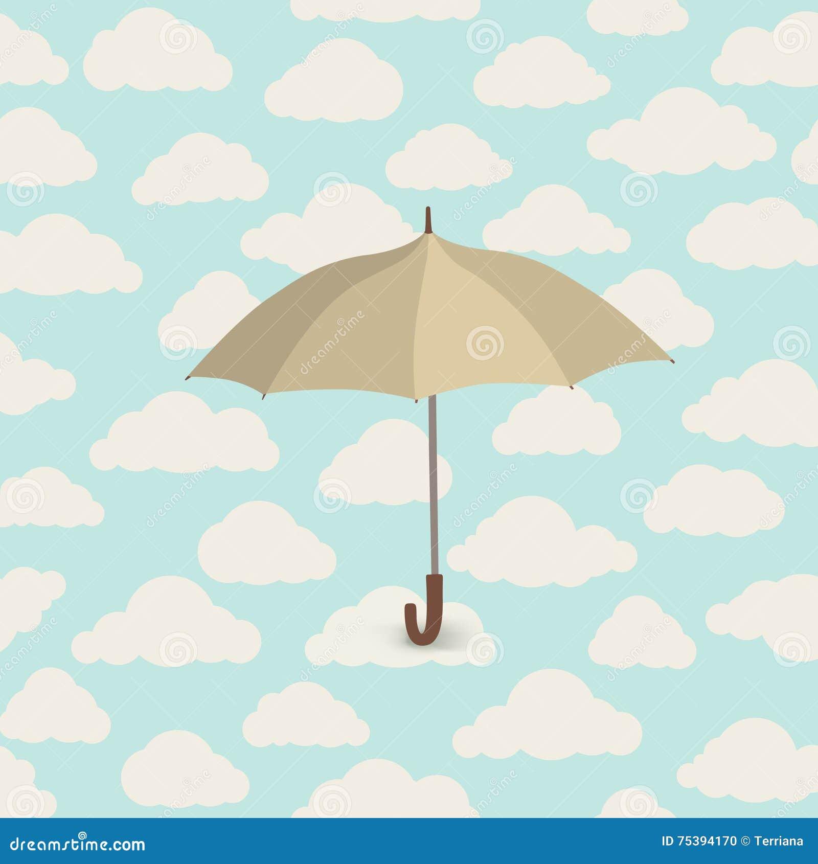 Paraguas Sobre La Lluvia Modelo Lluvioso Del Cielo Nublado Otoño ...