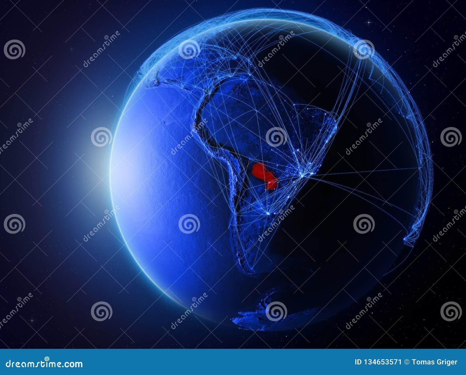 Paraguay op blauwe Aarde met netwerk